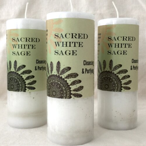 Sacred White Sage Pillar Candle Yatzuri