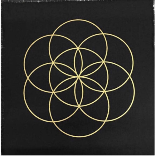 Black Linen Seed of Life Sacred Geometry Crystal Grid Altar Cloth Yatzuri