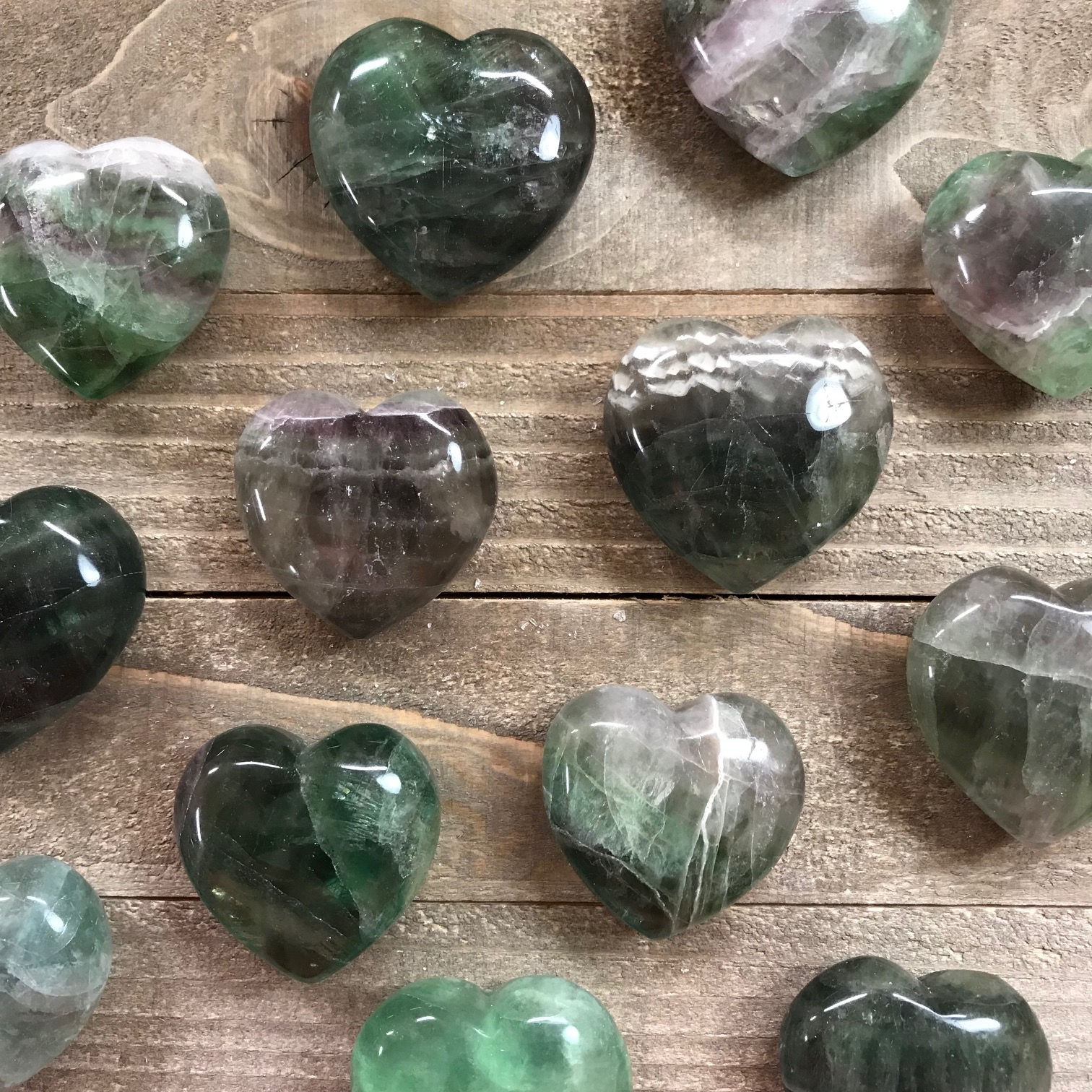 Small Rainbow Fluorite Puffy Heart Yatzuri