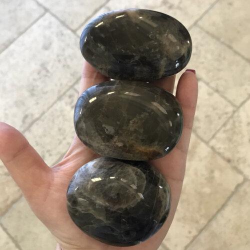 Black Moonstone Palm Stone Yatzuri