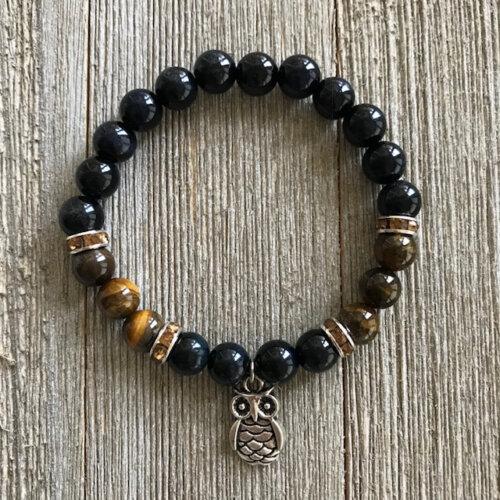 Golden Tiger Eye & Black Onyx Stretch Bracelet with Owl Charm Yatzuri