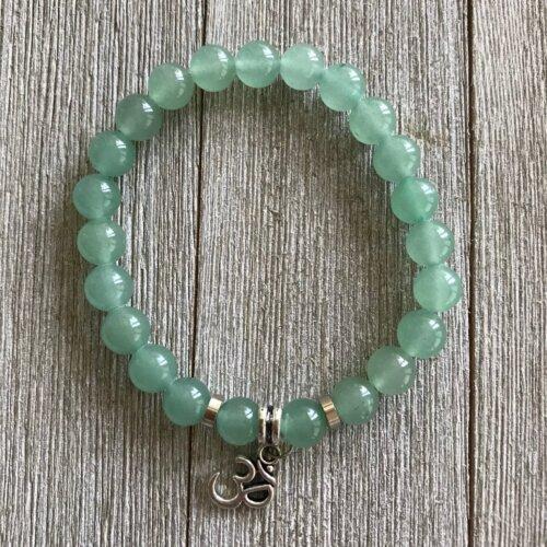 Green Aventurine Stretch Bracelet with Ohm Charm Yatzuri