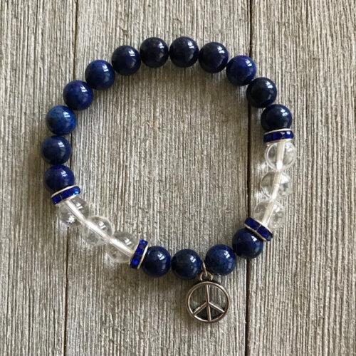 Lapis Lazuli & Clear Quartz Stretch Bracelet with Peace Charm Yatzuri