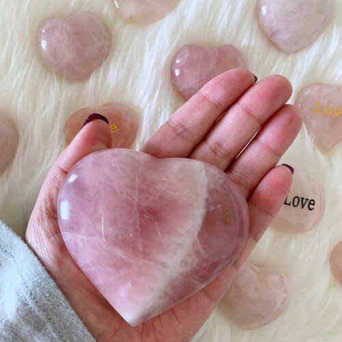 Large Rose Quartz Heart Yatzuri