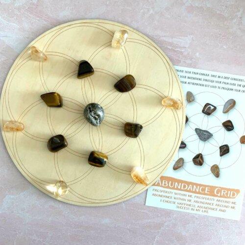 Abundance Crystals with 8 inch Seed of Life Wood Grid Yatzuri