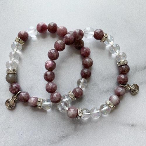 Lepidolite & Clear Quartz Bracelet with Spiral Charm Yatzuri